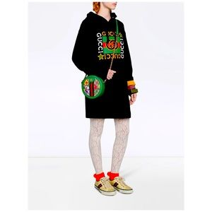 Gucci logo hoodie dress black